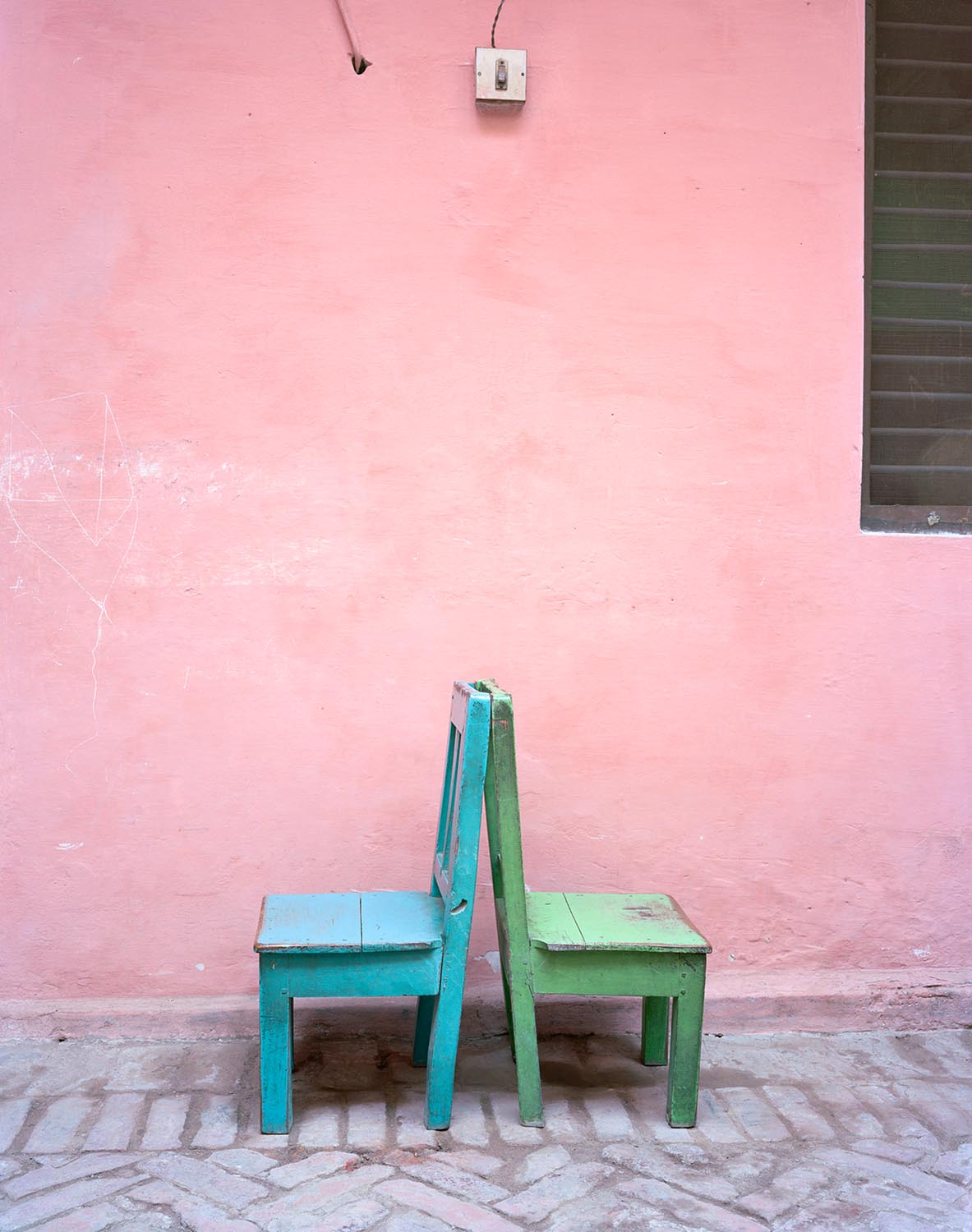 a-pink-dress-untitled-blue-green-chairs-2012