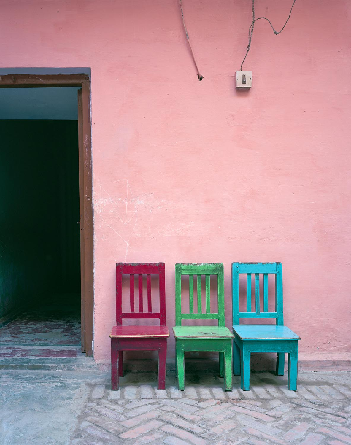 a-pink-dress-untitled-red-green-blue-chairs-2012